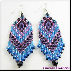These very colorful earrings are hand made by weaving seed beads, and bugle beads together in this festive Southwestern teal, purple, and pink design.