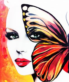 """Born"" by Janesko. #art #illustration #pinup #face #watercolor #fashionillustration #butterfly"