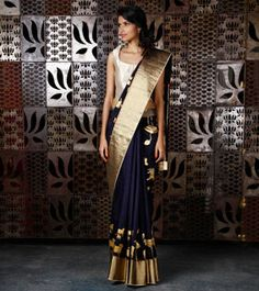 Navy Blue Chanderi Silk Saree with Gold Foil Print