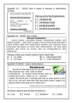 Espaço Professor: Avaliação Diagnóstica 3º ano Língua Portuguesa