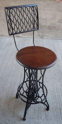 Antique Singer Swivel Bar Stool w Footrest Industrial Cast Iron Steel Metal   eBay