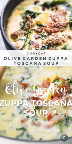 This Easy Olive Garden Zuppa Toscana Soup is a super quick and simple copycat recipe with rich, creamy flavor you can't resist! | lecremedelacrumb.com #soup #copycatmeal #zuppatoscanasoup #olivegarden #sidedish #familyside #healthy #simple #easy