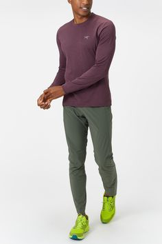 or your next high output trail run- throw on the ARC'TERYX Men's Motus Crew Long Sleeve. Anatomically patterned with gusseted underarms provides exceptional freedom of movement. - Shop with Free Shipping and Free Returns at Running Warehouse! - #motivation #motivational #motivate #inspiration #inspirational #inspire #inspired #running #runner #run #workout #training #athlete #health #fitness #quote #wisdom #patagonia #hike #climb #camp #thenorthface Running Gear, Running Shirts, Long Sleeve Running Shirt, Running Inspiration, Freedom Of Movement, A Good Man, Logo Branding, The North Face, Health Fitness