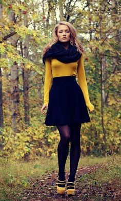 mustard and black- cute fall daytime look