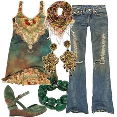 (By kimmdavis on Polyvore) *Gasp* If Cleopatra were a hippy, this is what she'd wear! LW