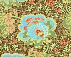 Patchworkstoff BELLE GOTHIC ROSE mit Riesen-Ornament-Blüten, türkis-mintgrün
