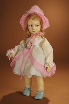 Bread and Roses - Auction - July 26, 2016: 169 Beautiful Italian Felt Child Doll, Series 110, by Lenci in Dainty Organdy Dress and Bonnet