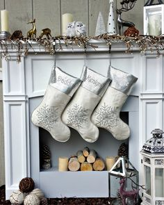 """Silver Off White Christmas Stockings -  20"""" with silver metallic snowflake and tassel beads Christmas stocking Embroidered Custom by eugenie2 on Etsy https://www.etsy.com/listing/481226739/silver-off-white-christmas-stockings-20"""