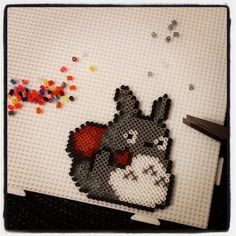 Totoro hama beads by x_dangelo Melty Bead Patterns, Hama Beads Patterns, Beading Patterns, Totoro, Ghibli, Beading For Kids, Graph Paper Art, Peler Beads, Diy Accessoires
