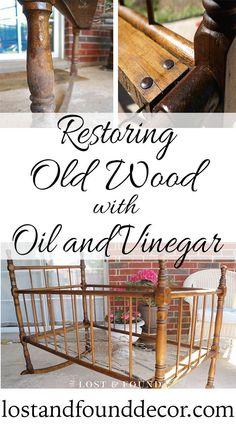 Restoring old wood with 2 simple ingredients. #lostandfounddecor #restoringwood #furnitureflipper
