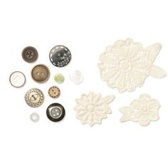 Bohemian Assortment - $4.95 --  6 lace flowers, 2 each of 3 designs; 10 buttons. Buttons may vary.