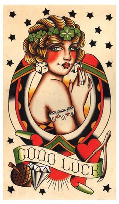 Vintage Lady Luck, Good Luck, Tattoo Flash Print