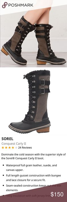 "Sorel ""Conquest Carly II"" boots NWOB Sorel boots in color Black and Kettle (which is a taupe gray to me); see pic for details; rePosh- just didn't fit me right 😔  ***OPEN TO OFFERS*** Sorel Shoes"