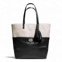 Coach  LEGACY TURNLOCK TOTE IN TWO-TONE LEATHER