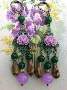 Victorian Cameo® green and lavander jade chandelier earrings