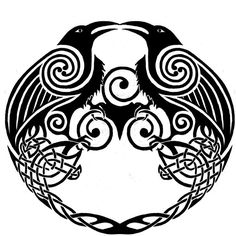 The two ravens are Huginn and Muninn, the birds of the Norse God, Odin. He sends them out to gather information every day. They represent reasoning (conscious thought) and intuition (unconscious thought). There's a passage in the Grímnismál where Odin expresses his fears that when he send his ravens out they won't come back. Theory is that is a representation of shamanic practices and the fear that Odin's mind won't come back from the other side.