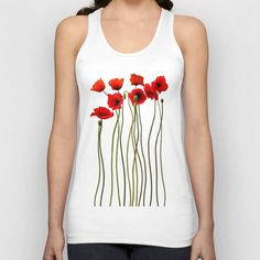 Watercolor Poppies   Unisex Tank Top
