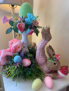 Easter Bunny Centerpiece Yoga Bunny Easter Floral | Etsy Floral Centerpieces, Floral Arrangements, Centerpiece Ideas, Easter Bunny Centerpiece, Easter Crafts, Easter Decor, Easter Ideas, Egg Crafts, Candy Wreath
