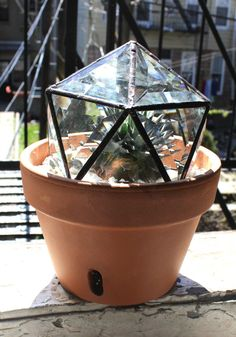 Stained Glass Bevel Geodesic Plant Topper by Halona Glass - $140