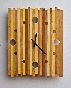 Reclaimed Pallet Wood Strip Clock by PalletArt on Etsy, $75.00
