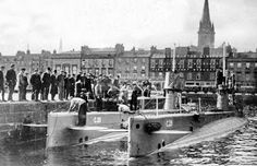 Tour Scotland Photographs: Old photograph of Royal Navy submarines in Victoria Dock in Dundee, Scotland.