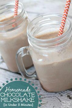 Easy Homemade Chocolate Milkshake Recipe! Love this easy shake recipe for a quick dessert for kids!