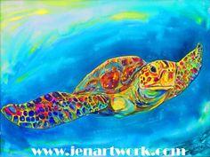 Sea Turtle print Cartoon Turtle on cutting board by by jenartwork, $38.95