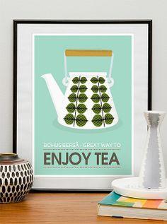 scandinavian style poster - enjoy tea