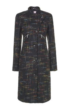 Italian tweed wool with multicolor rainbow inspired, slimming coat, details with faux leather and zippers ROSIE RAINBOW www.tessakoops.com