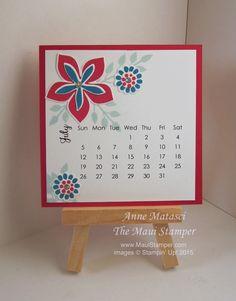 Maui Stamper July 2015 DIY Easel Calendar