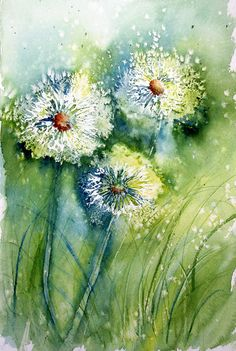 View From the Oak: Dandelion Clocks Sketching in Nature: Dandelion Clocks - Lin Frye Watercolor Techniques, Painting Techniques, Art Floral, Watercolour Painting, Watercolor Flowers, Watercolors, Dandelion Clock, Dandelion Painting, Painting Trees