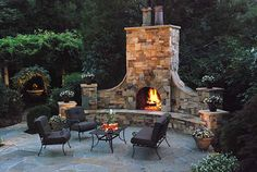 Outside fireplace kits are very useful products indeed. When you want to install a fireplace in your backyard or garden, these kits come in very handy. Fireplace Kits, Outside Fireplace, Outdoor Fireplace Designs, Backyard Fireplace, Backyard Patio, Outdoor Fireplaces, Fireplace Brick, Fireplace Decorations, Outdoor Rooms