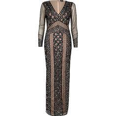 Zwarte maxi-jurk met kraaltjes en mesh - lange jurken - jurken - dames