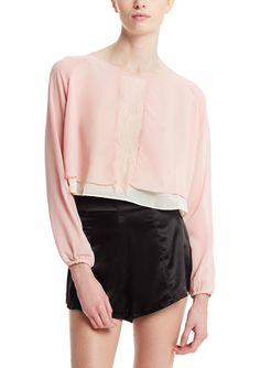 Sheer layover blouse in pastel pink