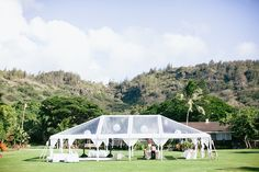 30x50 Clear top tent with Lantern lighting (Loulu Palm Estate - Oahu)