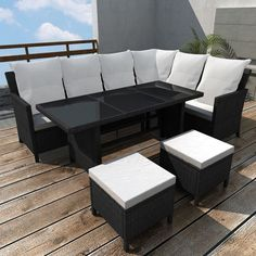 Rattan Corner Sofa Set Brown Dining Table Outdoor Pool Furniture Stools Cushions for sale online Furniture Dining Table, Lounge Cushions, Wicker Patio Furniture, Patio Furniture Sets, Furniture Sets, Rattan Corner Sofa, Black Patio Furniture, Garden Sofa Set, Outdoor Lounge Set