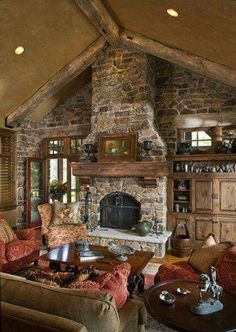 home decor family rooms The perfect family room, love the stone fireplace, the door on the one side and . The perfect family room, love the stone fireplace, the door on the one side and built in on the other Cabin Fireplace, Rustic Fireplaces, Fireplace Design, Stone Fireplaces, Fireplace Ideas, Stone Wall With Fireplace, Sandstone Fireplace, River Rock Fireplaces, Basement Fireplace