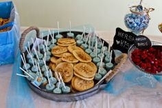 12th birthday party sand dollar cookies and fish under water marsh mellows on a stick