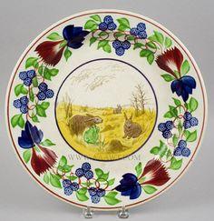 Stick Spatter, Rabbitware Charger, Rabbits and Frog, Virginia Rose Border England Circa 1875 to 1900