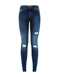 da0144a5398 Blue Ripped Ankle Grazer Jeans