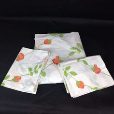 VTG 3pc SET Full Flat Bed Sheet Pillowcases Dior Wamsutta Orange Rose Percale  #Wamsutta #MidCenturyModernRetroChic