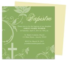 Sage Baby Baptism Christening Invitations Templates editable with Word, Publisher, Apple iWork Pages, OpenOffice. Print yourself or take anywhere to get printed!