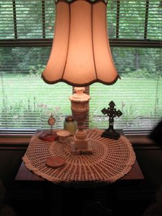 One of a pair of vintage marble lamps from late mother-in-law, Edna Hale, along with the watch of my husband's great grandfather