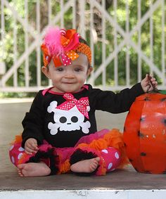 Love this Orange & Black Skull Skirted Bodysuit - Infant by Under The Hooded Towels on #zulily! #zulilyfinds