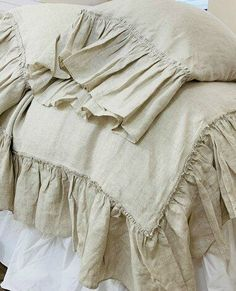 Natural Linen duvet cover with country mermaid long ruffles, shabby chic bedding, Made to Fit Ruffle Duvet, Linen Duvet, Ruffles, Shabby Chic Bedrooms, Shabby Chic Furniture, Chic Bedding, Luxury Bedding Sets, My New Room, Natural Linen