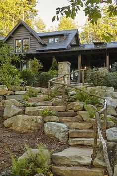 Stone and Pavers Sloping Backyard Stairs I am loving this stone stairway with ru. : Stone and Pavers Sloping Backyard Stairs I am loving this stone stairway with rustic wood railing Sloping lots Bakcyard stair House Landscape, Landscape Design, Rustic Gardens, Outdoor Gardens, Stone Exterior Houses, Stone Houses, Garden Stairs, House Stairs, Garden Beds