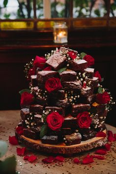 Wedding Brownie Tower at the Prince Albert, Camden, London country chocolat mariage cake cake country cake recipes cake simple cake vintage Brownie Wedding Cakes, Diy Wedding Cake, Brownie Cake, Wedding Cake Designs, Wedding Desserts, Our Wedding, Wedding Ideas, Wedding Reception, Wedding Cake Alternatives