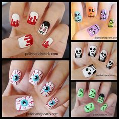 halloweencrafts:    DIY Roundup Five Halloween Nail Art Video Tutorials from Polish and Pearls here. All five tutorials are in one video.