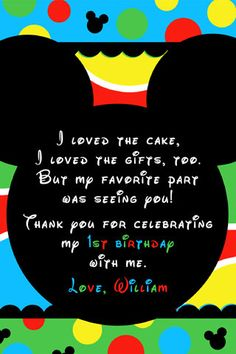 Mickey Mouse Inspired Clubhouse Printable Thank by itsybitsyprints, $12.50