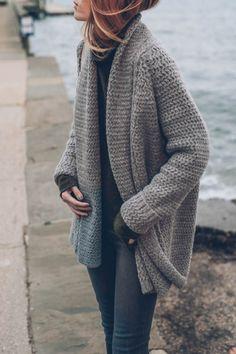 Jess Kirby styles a chunky knit cardigan